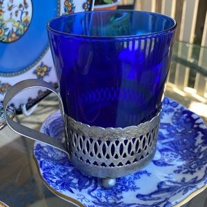ROYAL CROWN DERBY Saucer and a Blue Glass Cup